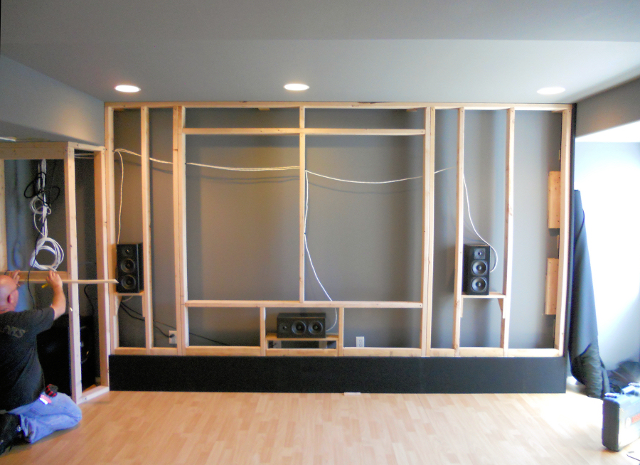a custom acoustically designed screen wall by theater design northwest in seattle - Home Theater Designers