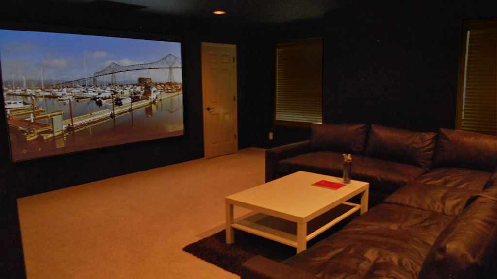 A high end projection theater by Theater Design NW in Bellingham and Seattle