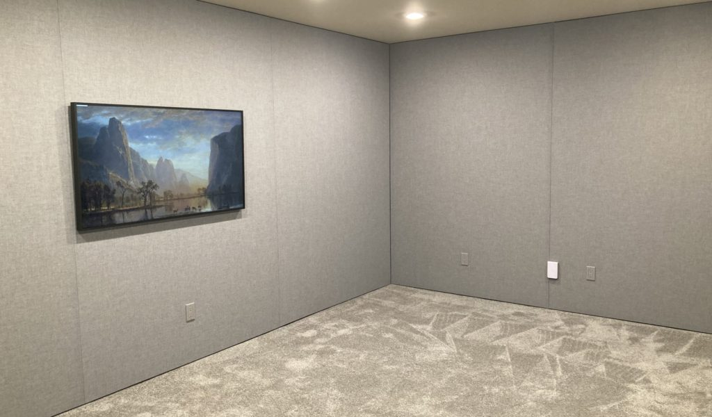 Custom fabric stretch acoustics treatment by Theater Design NW in the Pacific NW